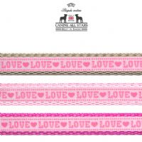 DOG LEAD - LOVE PINK AND HOT PINK (RIBBON 10mm)